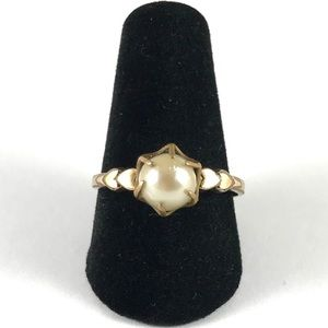 10K Gold Filled Pearl Ring Size 8.5 Gold Ring